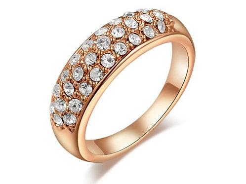 Rose Gold Inlaid Crystal Ring
