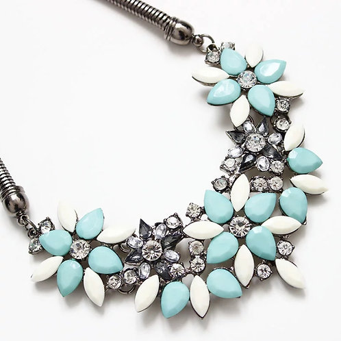 Turquoise & Cream Rhinestone Necklace