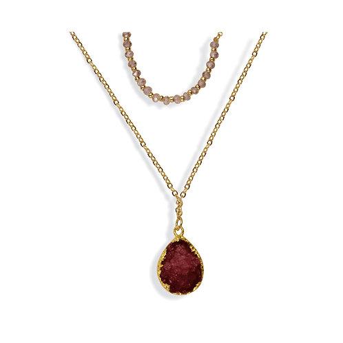Jewel Den Layered Druzy Stone Necklace