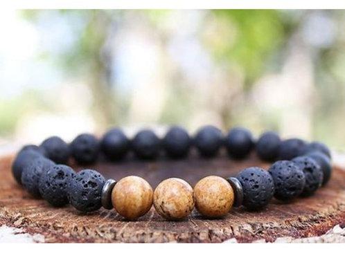 Lava Rock & Jasper Diffuser Bracelet