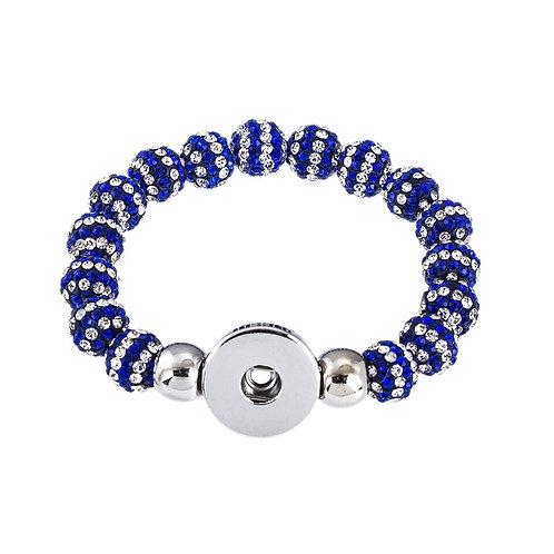 Blue & Silver Beaded Stretch Bracelet