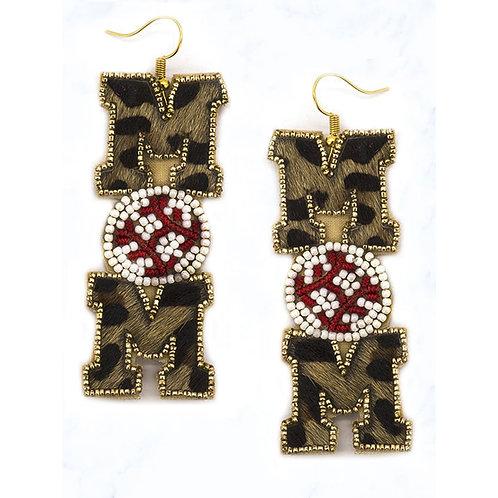 Leopard Beaded Baseball Earrings