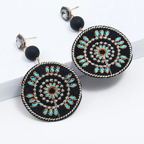 Round Embroidery Earrings