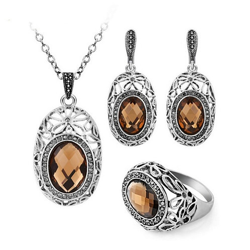 Topaz Color Floral Necklace, Ring, & Earrings