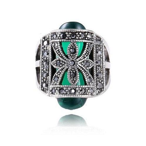 Green Black Crystal Ring