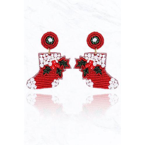 Beaded Christmas Stocking Earrings
