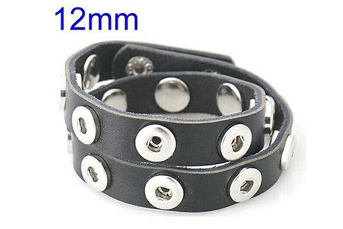 Black Leather Mini Wrap Bracelet
