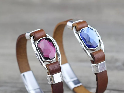 Brown Leather Rhinestone Bracelet