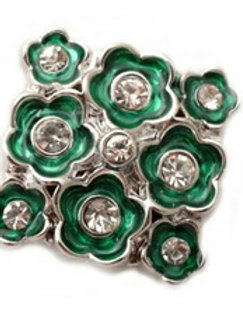 Green Rhinestone Floral Square Snap