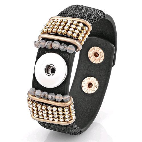 Black/Gold/Rhinestone Leather Bracelet