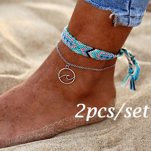Woven Rope Wave Silver Pendant Anklet
