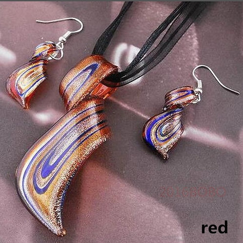 Red/Orange Murano Glass Earring & Necklace Set