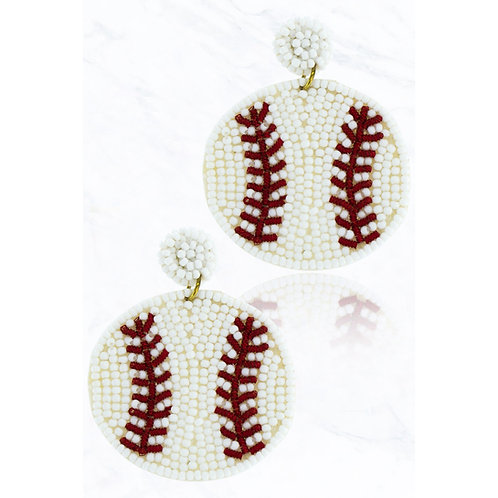 Baseball Beaded Earrings