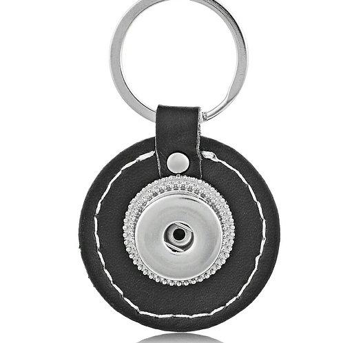 Round Black Leather Key Chain