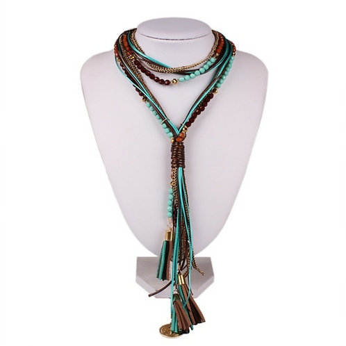 Facet Bead Multilayer Two Tone Necklace