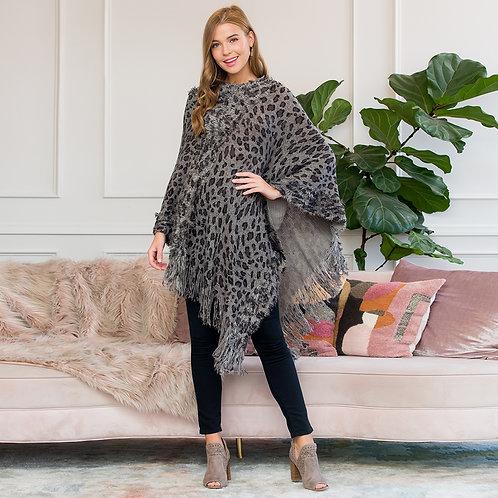 Fringed Leopard Poncho