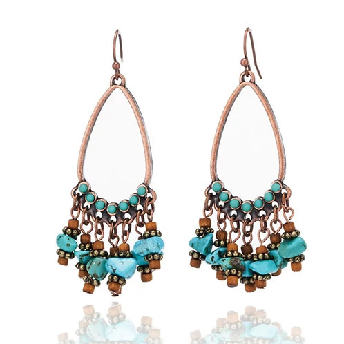 Copper Turquoise Color Earrings