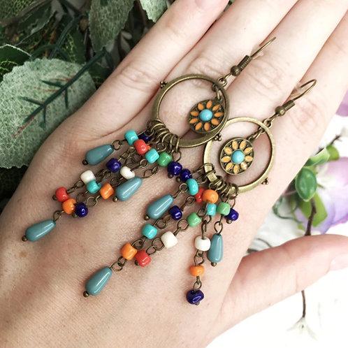 Copper Multicolored Earrings
