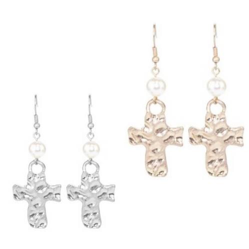 Metal Cross with Pearl Earrings