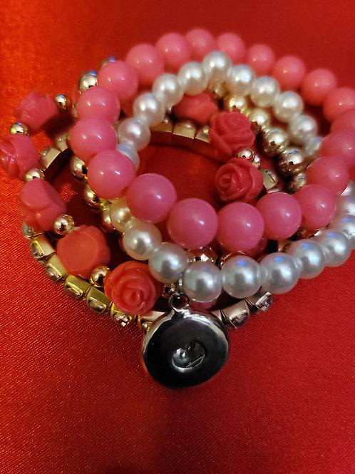 Pink/Gold/Rhinestone Beaded Bracelets