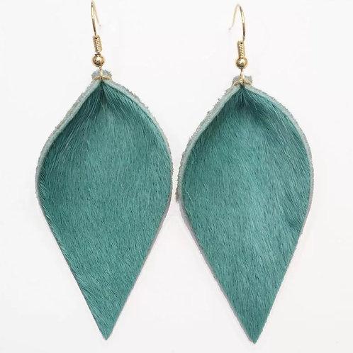 Leather Cowhide Leaf Earrings