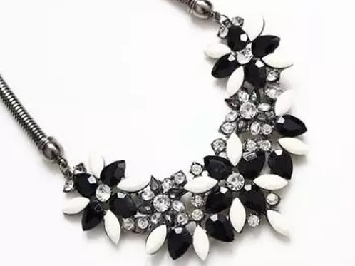 Black & Cream Rhinestone Floral Necklace