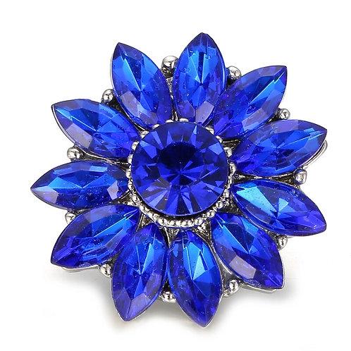 Floral Blue Rhinestone Snap