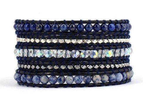 Blue Bohemian Leather Wrap Bracelet