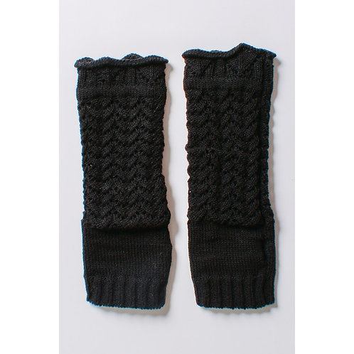 Black Knit Arm Warmers/Fingerless Gloves