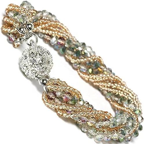 Gold Crystal Beaded Bracelet