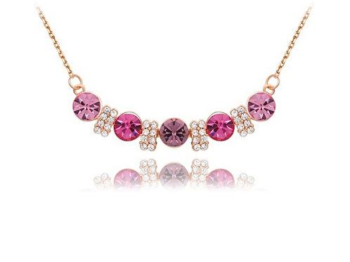 Rose Gold Multicolor Austrian Crystal Necklace
