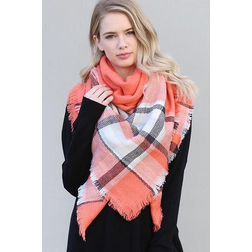 Orange Blanket Fringe Scarf