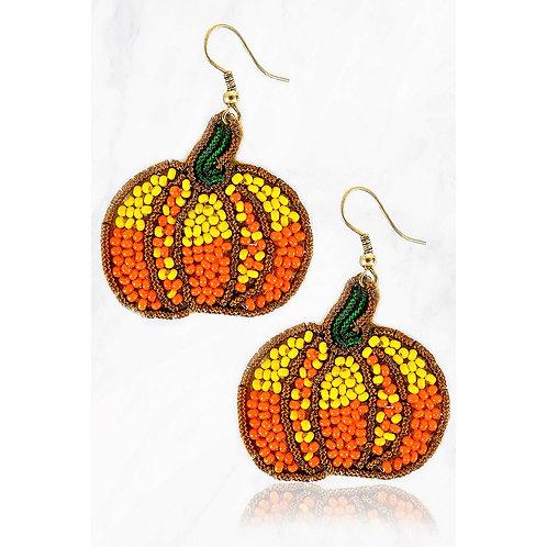 Pumpkin Beaded Earrings