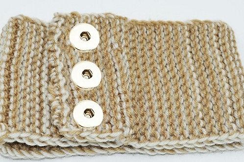 Tan/Cream Snap Knit Headband