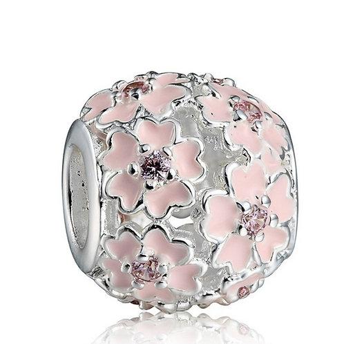 Pink Flower Bracelet or Necklace Charm