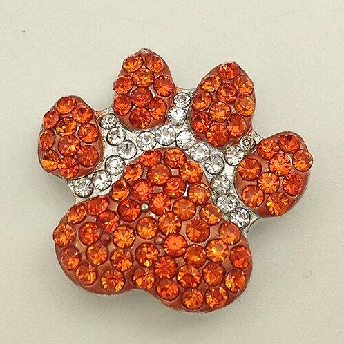Orange Rhinestone Paw Snap