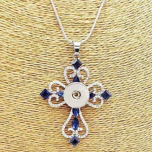 Blue Rhinestone Cross Necklace