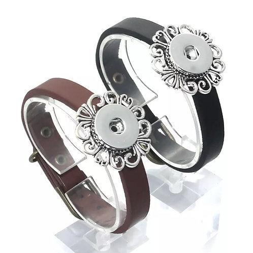 Brown Leather Scroll Bracelet