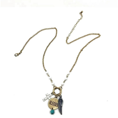 Blessed/Cross/Angel Wing Necklace