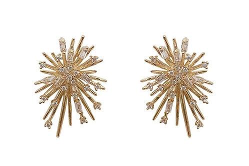Goldtone Rhinestone Burst Earrings