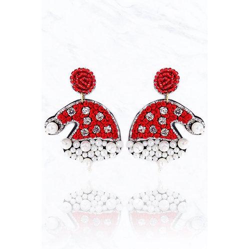 Santa Hat Pearl Earrings
