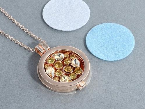 Gold & Yellow Rhinestone Diffuser Necklace