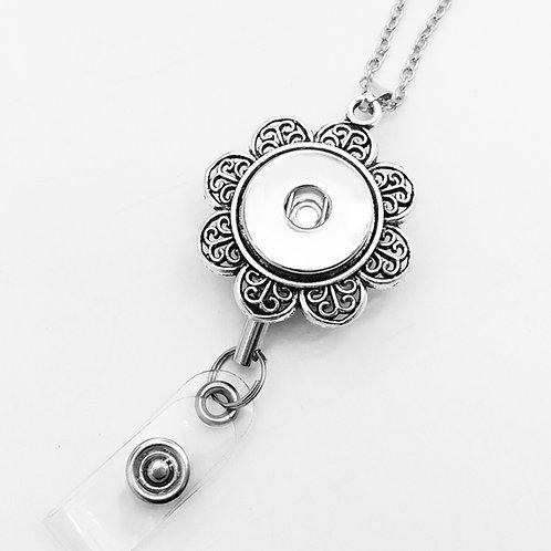 Floral Badge Holder Necklace