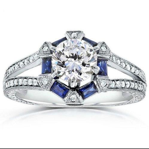 Art Deco 1 Carat Moissanites Blue Sapphire Ring