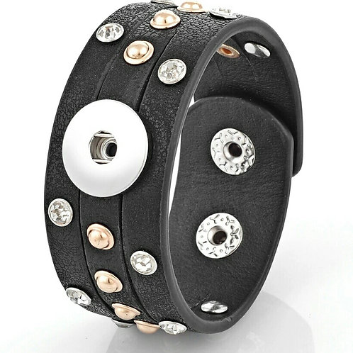 Black Leather Rhinestone/Beaded Bracelet