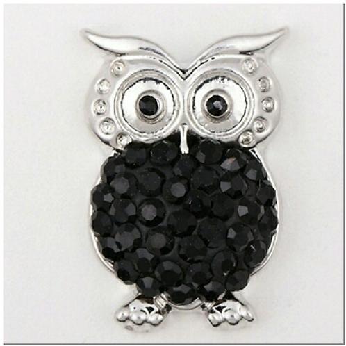 Black Rhinestone Owl Snap