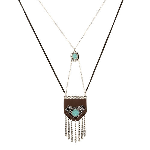 Brown Leather Turquoise Tassle Necklace