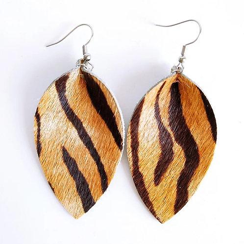 Leather Cowhide Zebra Stripe Earrings