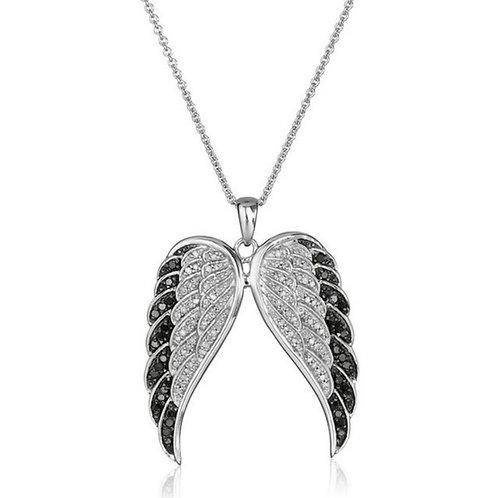 Black Crystal Angel Wings Necklace