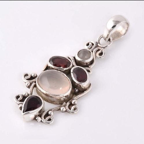Rose Quartz & Garnet Pendant